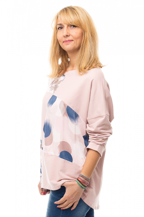 Bluza bumbac roz cu insertii de matase imprimata 1