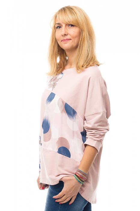 Bluza bumbac roz cu insertii de matase imprimata 4