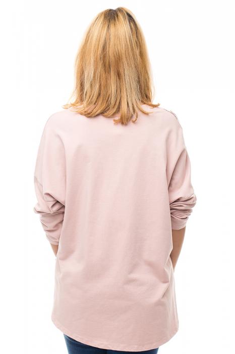 Bluza bumbac roz cu insertii de matase imprimata 2