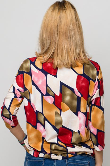 Bluza casual, imprimeu colorat si maneca 3/4 2