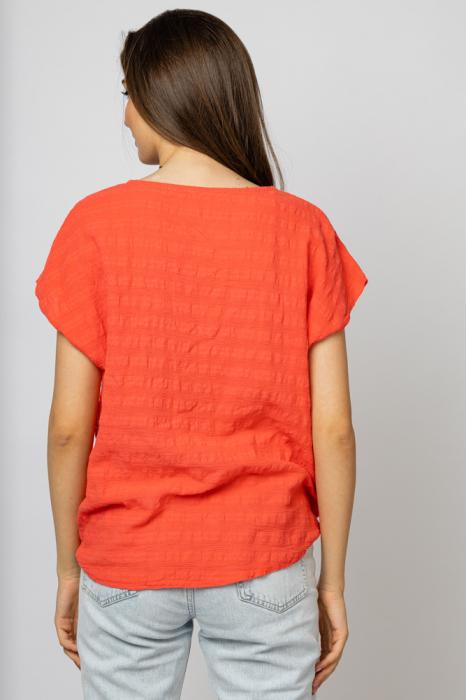 Bluza corai din bumbac cu floare stilizata pe piept si snur la poale [1]