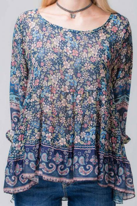Bluza cu imprimeu floral pe fond bleumarin 3