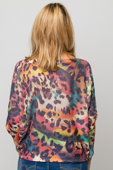 Bluza cu maneca fluture si imprimeu animal print 2