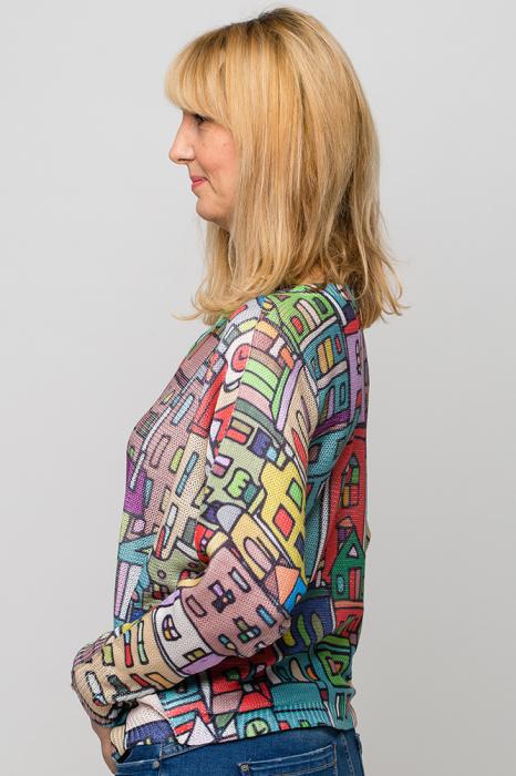 Bluza cu maneca fluture si imprimeu casute colorate 1