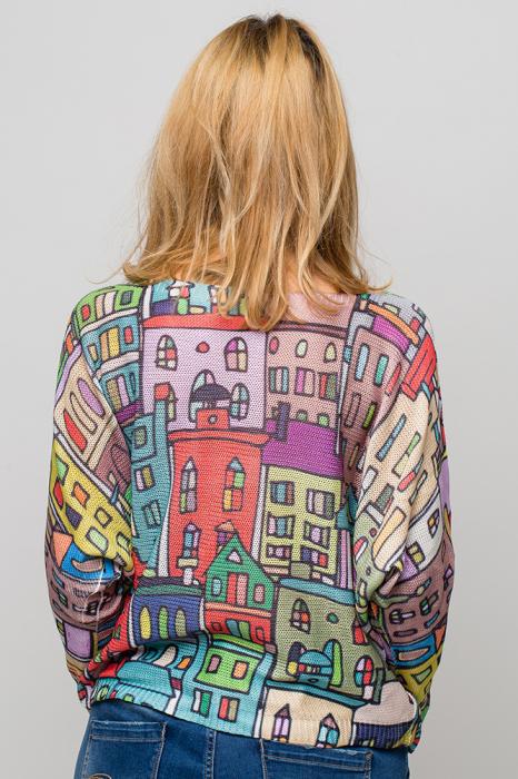 Bluza cu maneca fluture si imprimeu casute colorate 2