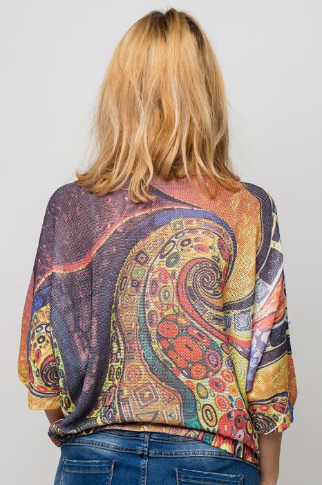 Bluza cu maneca fluture si imprimeu inspirat din pictura lui Klimt 2