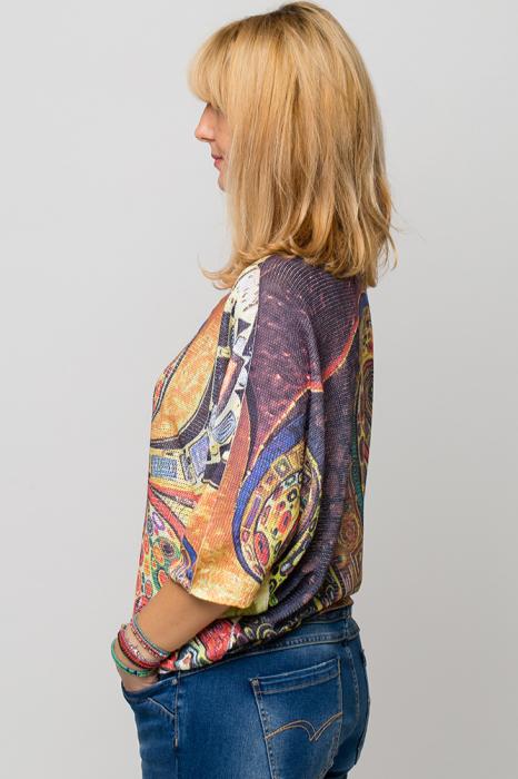 Bluza cu maneca fluture si imprimeu inspirat din pictura lui Klimt 1