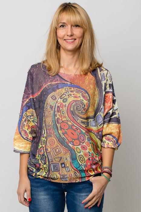 Bluza cu maneca fluture si imprimeu inspirat din pictura lui Klimt 0
