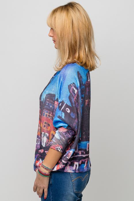 Bluza cu maneca fluture si imprimeu inspirat din pictura lui Van Gogh [4]