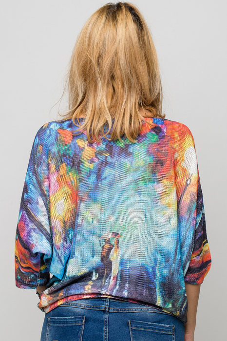 Bluza cu maneca fluture si imprimeu pereche de indragostiti 2