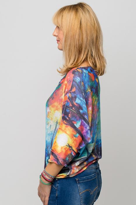 Bluza cu maneca fluture si imprimeu pereche de indragostiti 1