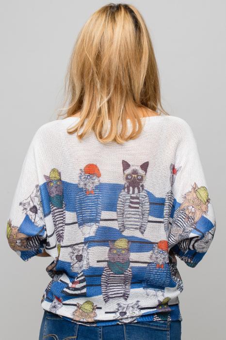 Bluza cu maneca fluture si imprimeu pisici cu tricouri dungate 3