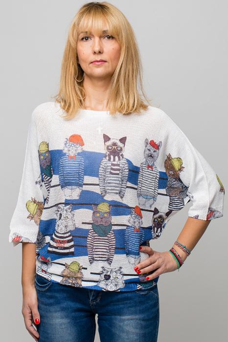 Bluza cu maneca fluture si imprimeu pisici cu tricouri dungate 0
