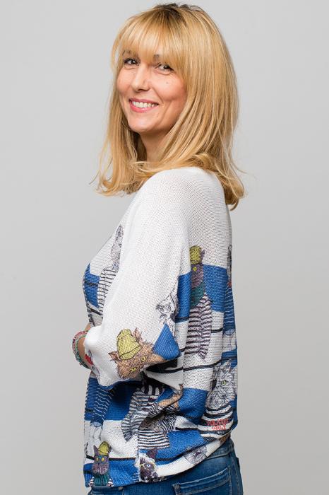 Bluza cu maneca fluture si imprimeu pisici cu tricouri dungate [1]