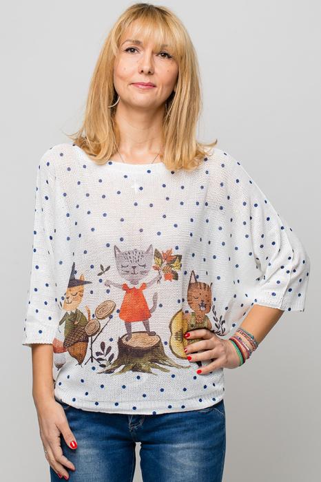 Bluza cu maneca fluture si imprimeu trei pisici [0]