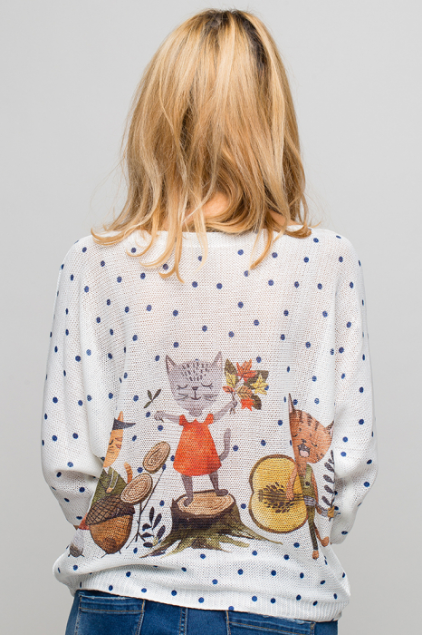 Bluza cu maneca fluture si imprimeu trei pisici [2]