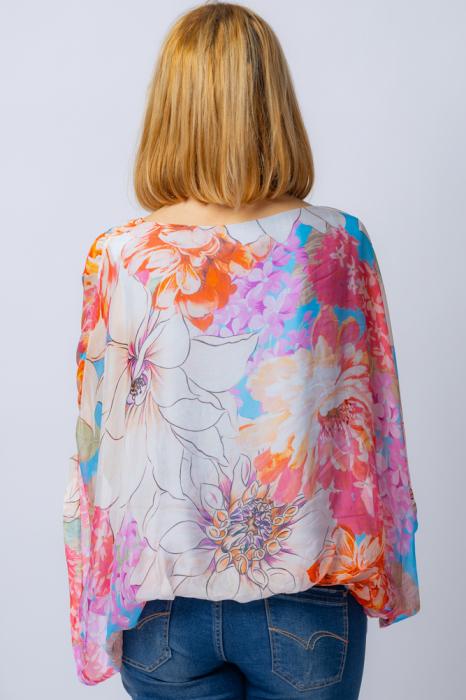 Bluza din matase naturala cu imprimeu floral, maneca fluture, interior albastru [2]