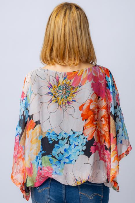 Bluza din matase naturala cu imprimeu floral, maneca fluture, interior negru [2]