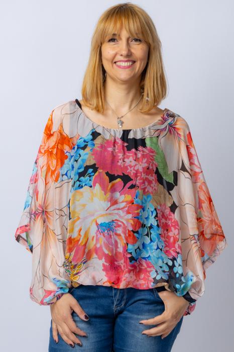 Bluza din matase naturala cu imprimeu floral, maneca fluture, interior negru [0]