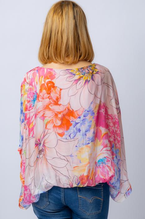 Bluza din matase naturala cu imprimeu floral, maneca fluture, interior roz [1]