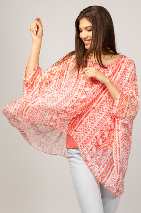 Bluza din matase naturala in colturi cu modele geometrice alb/rosu corai [1]