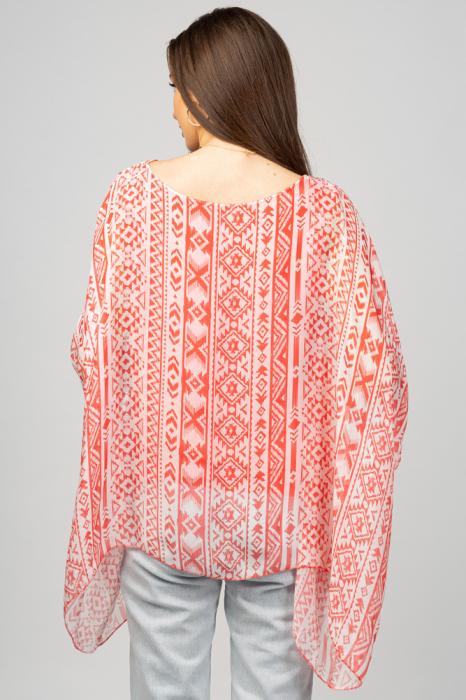 Bluza din matase naturala in colturi cu modele geometrice alb/rosu corai [2]