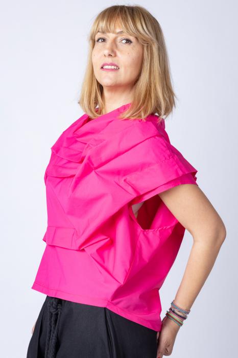 Bluza fucsia asimetrica, extravaganta 1