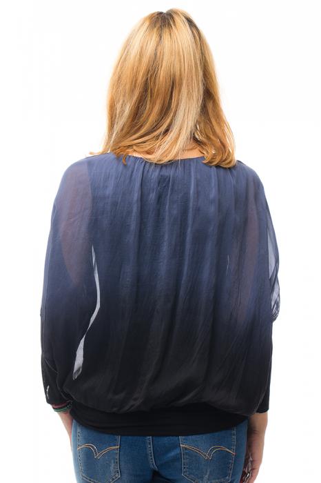 Bluza in degrade din matase naturala cu maneca lunga fluture si elastic la poale - bleumarin&negru 2