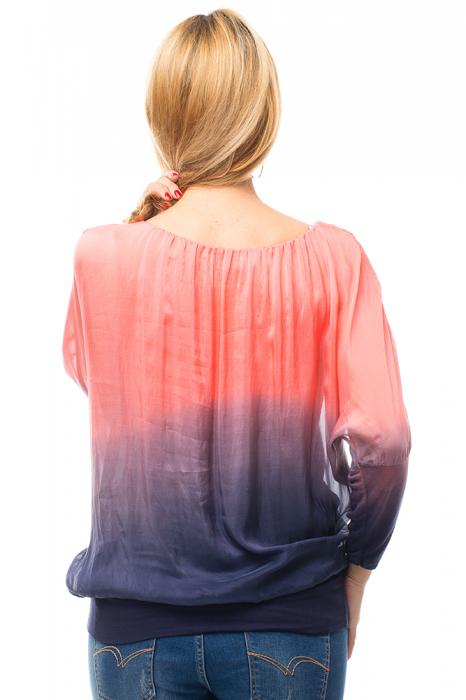 Bluza in degrade din matase naturala cu maneca lunga fluture si elastic la poale - corai & bleumarin [2]