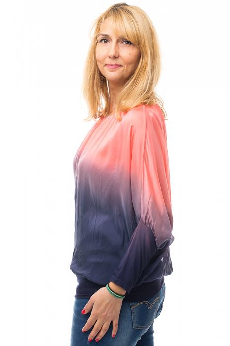 Bluza in degrade din matase naturala cu maneca lunga fluture si elastic la poale - corai & bleumarin [1]