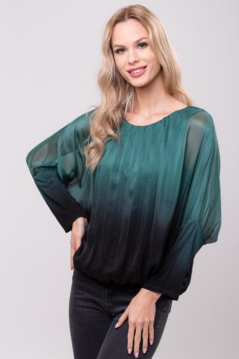 Bluza in degrade din matase naturala cu maneca fluture si elastic la poale - verde&negru 0