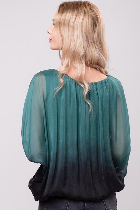 Bluza in degrade din matase naturala cu maneca fluture si elastic la poale - verde&negru 1