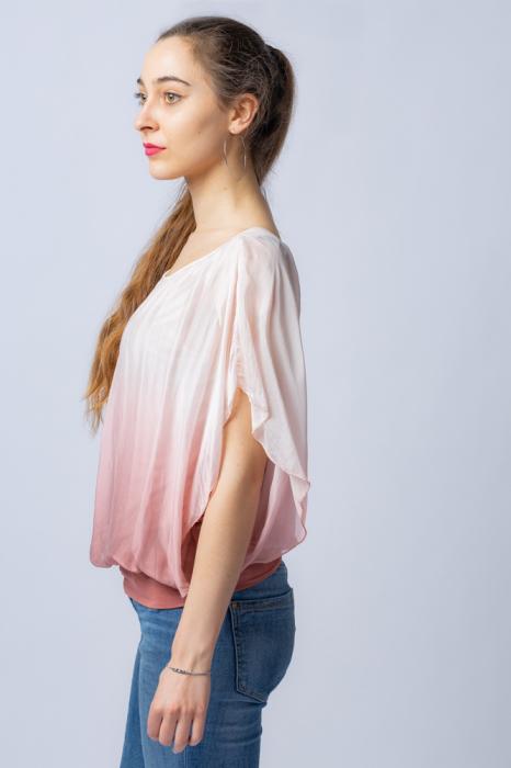 Bluza in degrade din matase naturala cu maneca scurta fluture si elastic la poale roz pal & roz pudra [1]