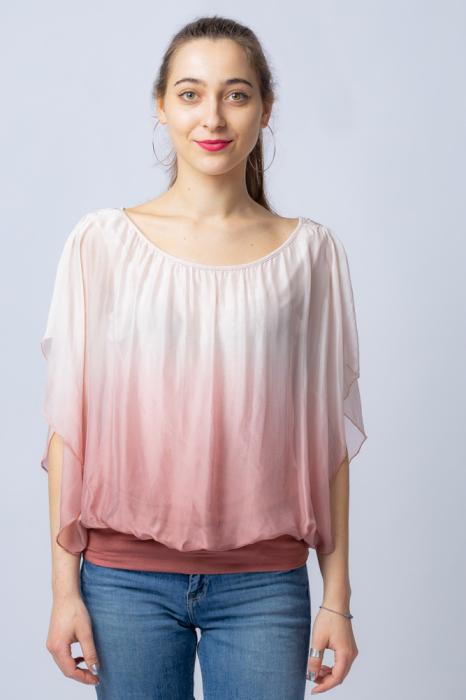 Bluza in degrade din matase naturala cu maneca scurta fluture si elastic la poale roz pal & roz pudra [0]