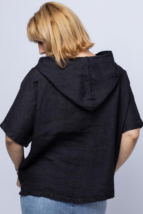 Bluza neagra asimetrica din in, cu gluga [2]