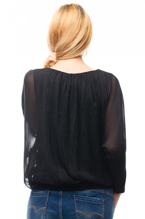Bluza neagra uni din matase naturala cu maneca lunga fluture si elastic la poale [5]