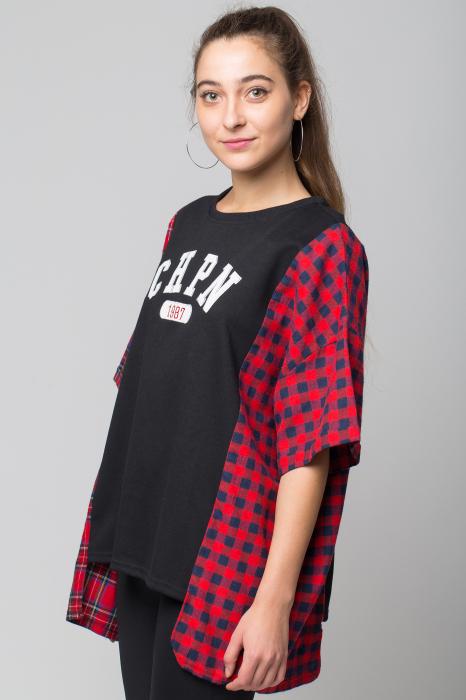 Bluza oversize neagra cu ecosez rosu [1]