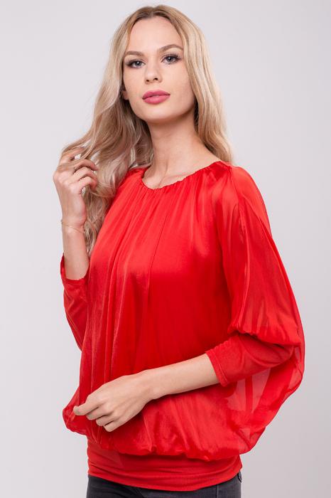 Bluza rosie uni din matase naturala cu maneca fluture si elastic la poale 0