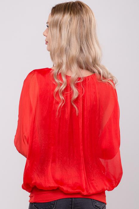 Bluza rosie uni din matase naturala cu maneca fluture si elastic la poale 3