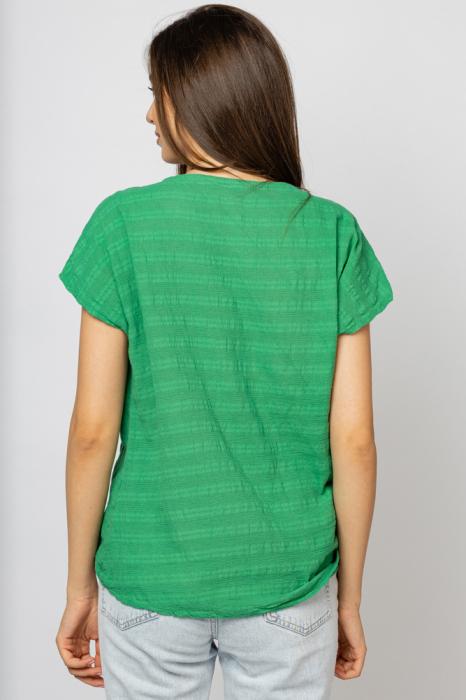 Bluza verde din bumbac cu floare stilizata pe piept si snur la poale [1]
