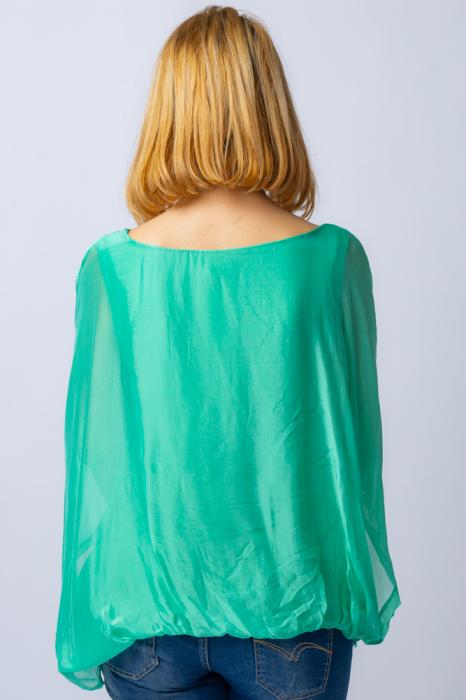 Bluza verde din matase naturala cu maneca fluture [2]