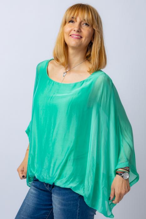 Bluza verde din matase naturala cu maneca fluture [1]