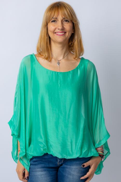 Bluza verde din matase naturala cu maneca fluture [0]