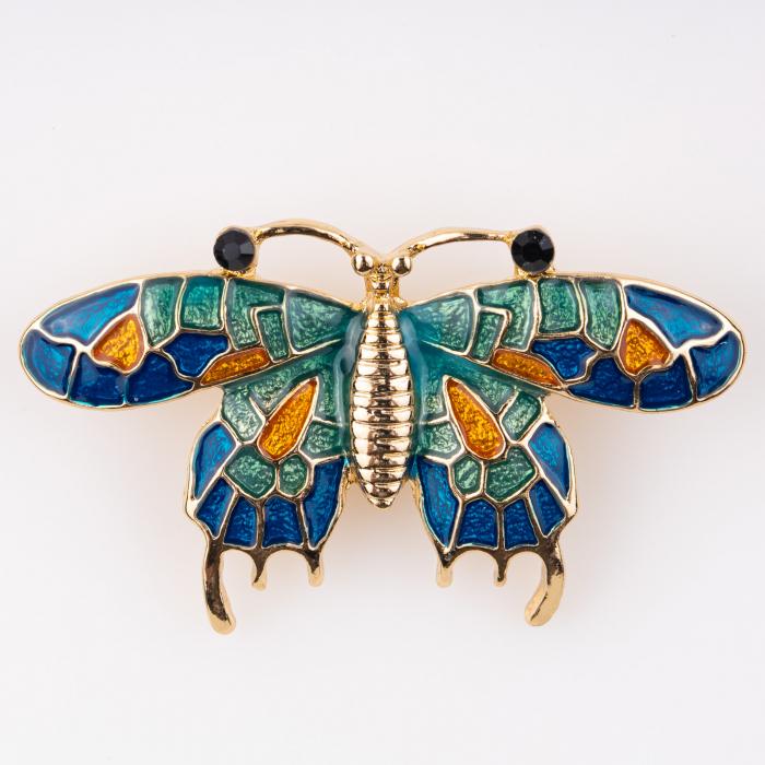 Bondar metalic auriu cu petale verzi, albastre 0