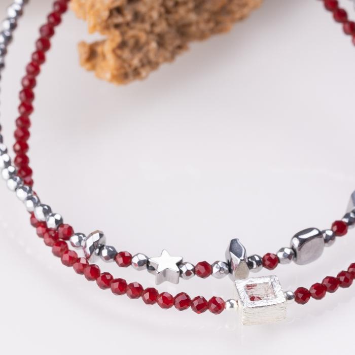 Bratara argint subtire din cubic zirconia rosu rubiniu si piesa triunghiulara din argint [2]