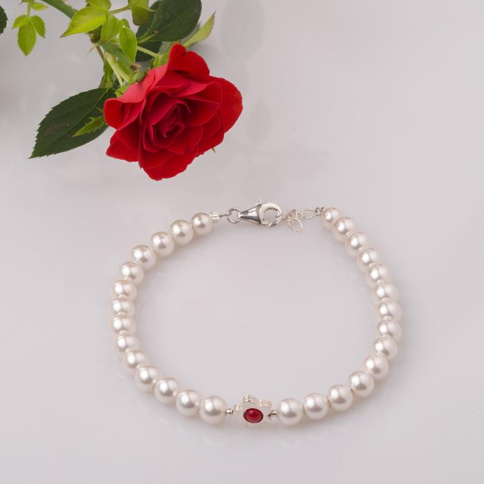 Bratara cu perle sintetice si floare din argint [0]
