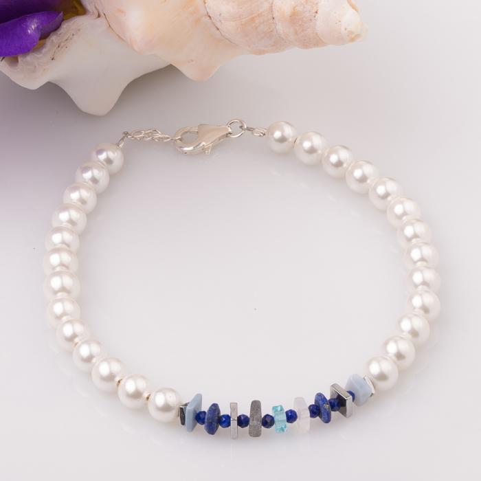 Bratara cu perle sintetice si placute pietre semipretioase diverse [0]