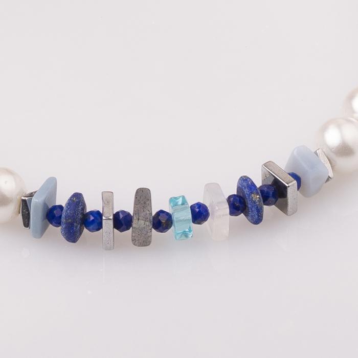 Bratara cu perle sintetice si placute pietre semipretioase diverse [1]