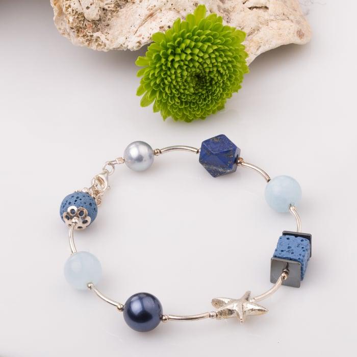 Bratara cu tuburi, lapis lazuli si stea de mare din argint 0