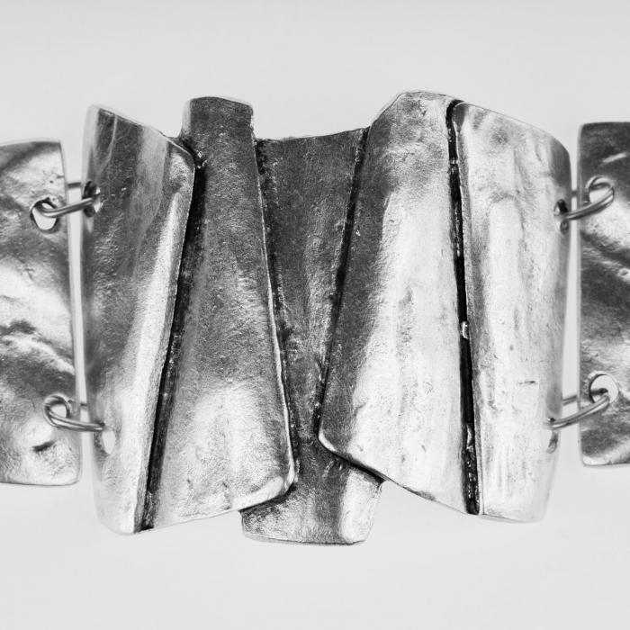 Bratara din zamac cu 3 piese mari curbate [2]